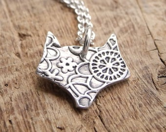 Tiny Fox Necklace, Foxy Lady, Flowered Fox, Fine Silver, Sterling Silver Chain, Made To Order