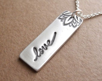 Love Necklace, Bar Pendant, Stamped Love Bar, Rectangle, Fine Silver, Sterling Silver Chain, Ready To Ship