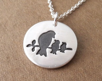 Mother and Two Baby Birds Necklace, New Mom Necklace, Two Children Jewelry, Fine Silver, Sterling Silver Chain, Made To Order