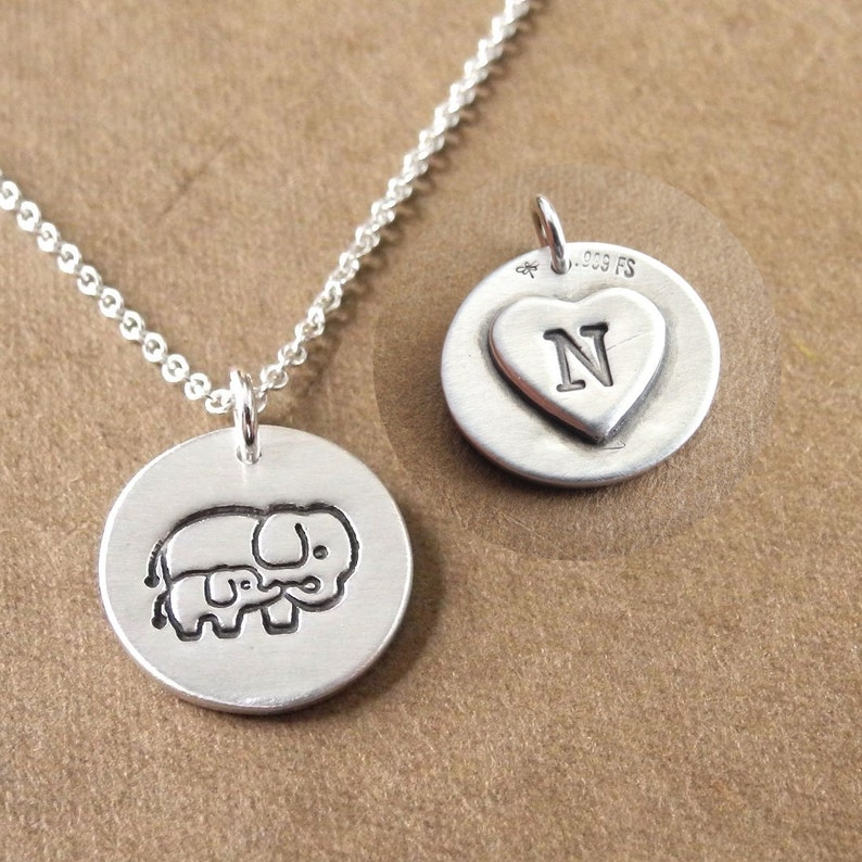 Personalized Small Mother and Baby Elephant Necklace New Mom image 0