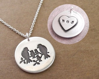 Personalized Bird Family Necklace, Mom, Dad, Three Babies, Large Heart Monogram, Initials, Fine Silver, Sterling Silver Chain, Made To Order