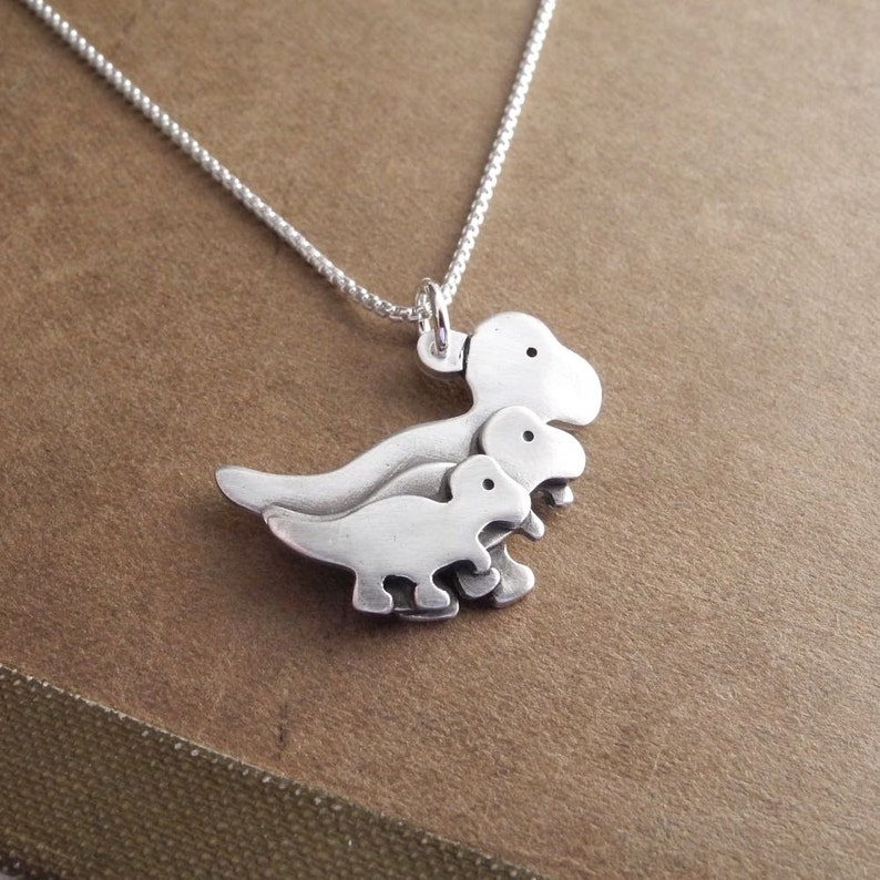 Mother T-Rex and Two Babies Necklace Mom and Two Kids Mother image 0