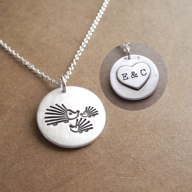 Personalized Mother and Two Baby Hedgehogs Necklace Mom and image 0