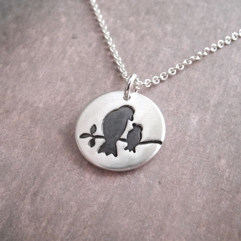 Bird Necklace Mother and Baby Bird Small New Mom Necklace image 0
