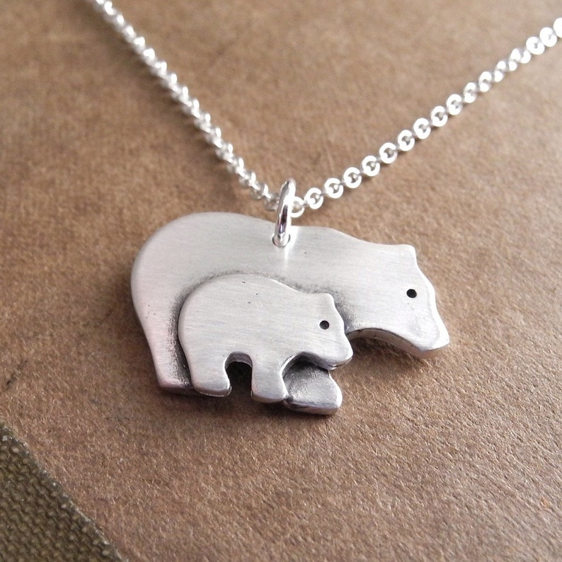Mother and Baby Bear Necklace New Mom Necklace Mother and image 0