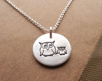 Owl Necklace, Small Mother and Baby Owl, New Mom Necklace, Mommy To Be Charm, Fine Silver, Sterling Silver Chain, Made To Order