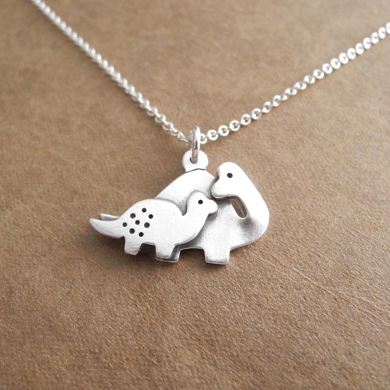 Mother and Baby Dinosaur Necklace New Mom Necklace Fine image 0