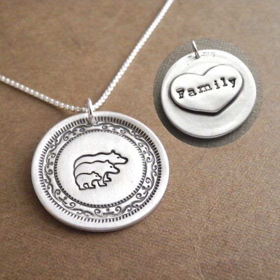 Mom Baby Personalized Dinosaur Family Necklace Made To Order New Family Fine Silver Dad Family of Three Sterling Silver Chain