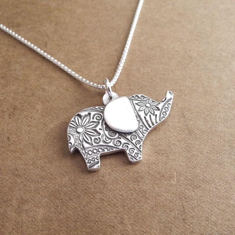 Flowered Elephant Necklace Good Luck Elephant Fine Silver image 0