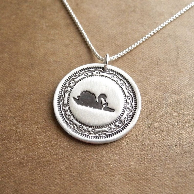 Mother and Baby Swan Necklace New Mom Necklace Mother and image 0