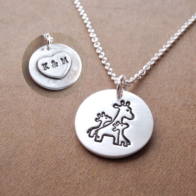 Personalized Small Mother and Twin Giraffe Necklace Mom and image 0