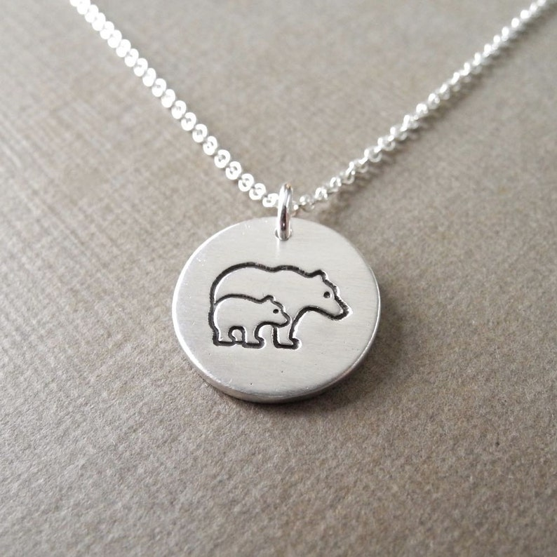 Small Mother and Baby Bear Necklace Mom and Cub New Mom image 0