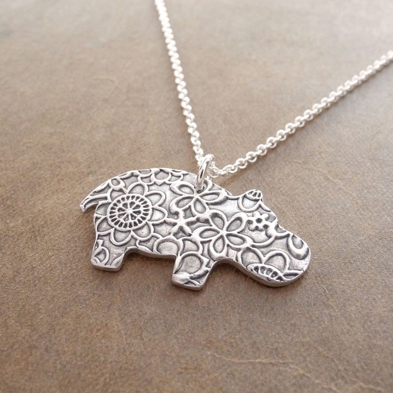 Hippo Necklace Flowered Hippo Fine Silver Sterling Silver image 0