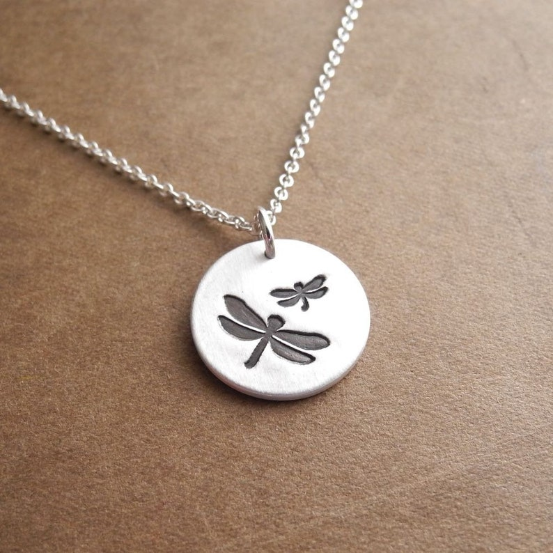 Mother and Baby Dragonfly Necklace New Mom Necklace Mother image 0