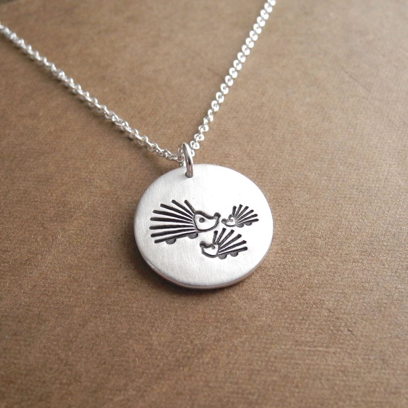 Mother and Two Baby Hedgehogs Necklace Mom and Two Kids Two image 0