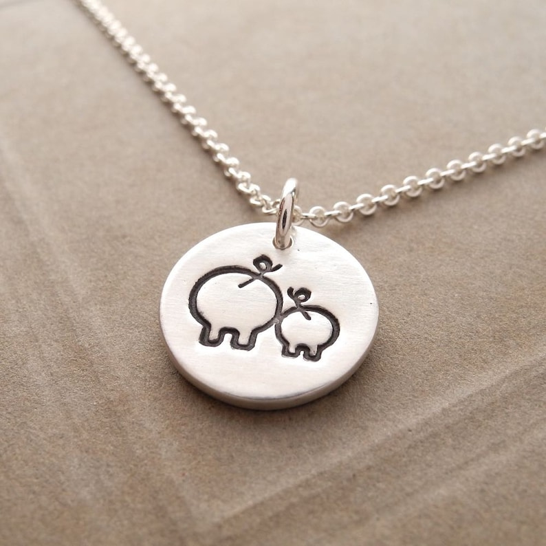 Tiny Mother and Baby Pig Necklace New Mom Necklace Fine image 0