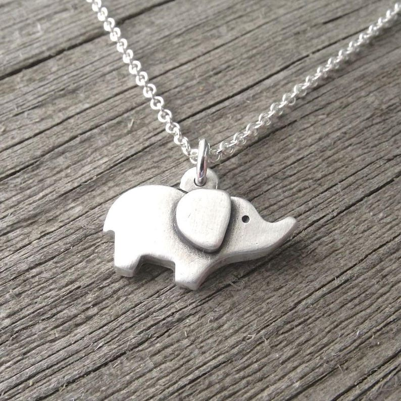 Tiny Elephant Necklace Baby Elephant Good Luck Elephant image 0
