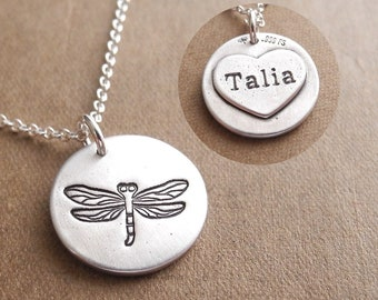 Personalized Dragonfly Necklace, Heart Monogram, Initial, Fine Silver, Sterling Silver Chain, Made To Order