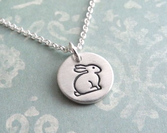 Teeny Tiny Rabbit Necklace, Tiny Bunny Necklace, Fine Silver, Sterling Silver Chain, Made To Order