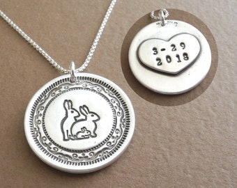 Personalized Rabbit Family Necklace, Extra Large Heart Monogram, Mom Dad Baby, Fine Silver, Sterling Silver Chain, Made To Order