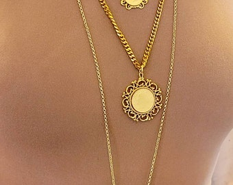Multiple gold chain necklaces ~ layered look ~ neck mess ~ gold coin necklaces ~ locket necklace