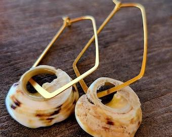 Elongated hoop earring with natural shell ~ beach earring ~ shell earring