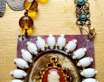 Cameo necklace ~ cameo pendant ~ long assemblage cameo necklace