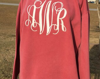 Monogrammed (thread) Comfort Colors Long Sleeve Shirt - ADULT size