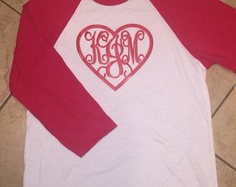 Monogrammed heart Raglan Sleeve Shirt