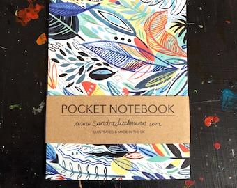 Pocket Notebook, Jotter, Mini Sketchbook | Jungle Leaves