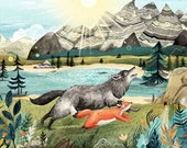 Fox & Wolf // Signed A3 print