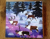 Reindeers | Square Greeting / Christmas Card / blank inside