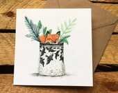 Fox Pot // Square Greeting Card