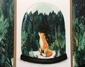 SNOW GLOBE FOX | Greeting Card | Blank Inside