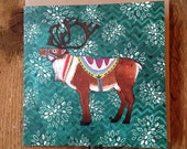Reuben Reindeer | Square Greeting / Christmas Card / blank inside
