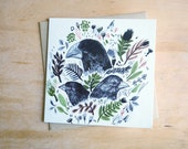Darwin Finches // Square Greeting Card