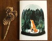Notebook, Jotter, Mini Sketchbook | SNOW GLOBE FOX