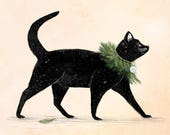 Black Cat | Greeting / Christmas Card | Blank Inside