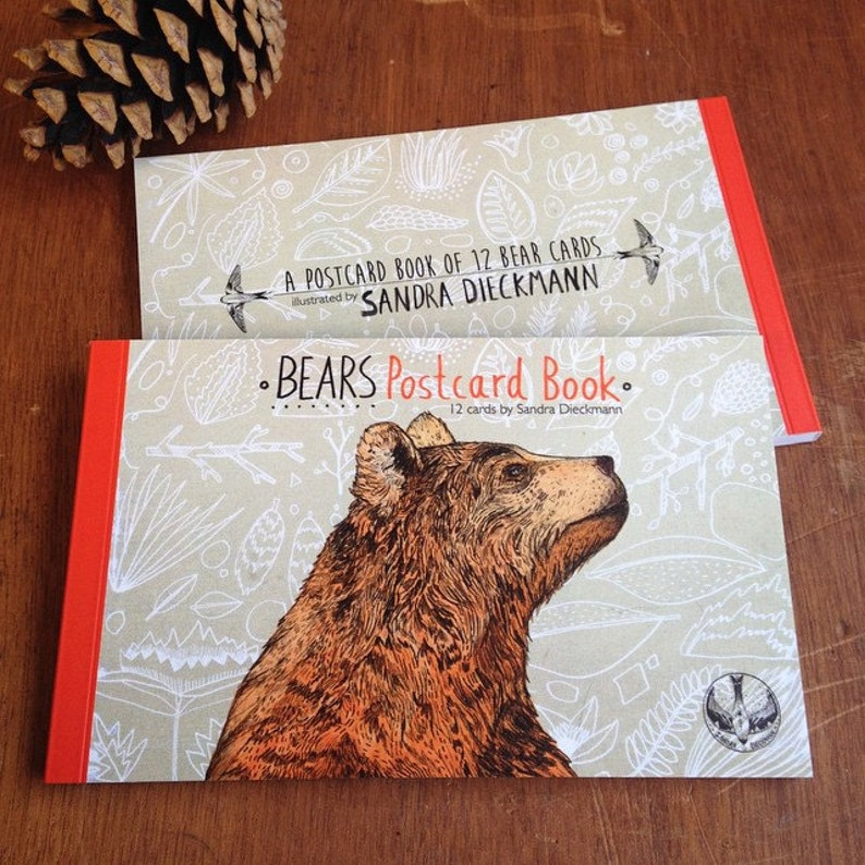 BEARS Postcard Book // contains 12 illustrated cards image 0
