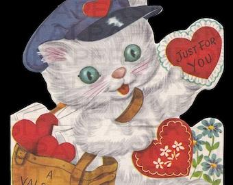 Cute Kitty Cat Valentine / Kids Valentine 8 x 9.6 Digital Paper Download / Scrapbooking Supplies / Instant Download / High Resolution