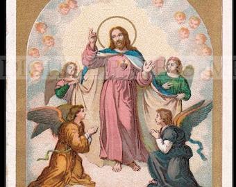 Jesus Holy Prayer Card / Jesus Holy Card / Jesus and Angels / Digital Download / Holy Card Ephemera / Angels and Cherubs / Sacred Heart