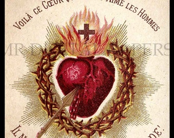Holy Prayer Card / Sacred Heart / Holy Card / Sacred Heart Jesus / Antique Prayer Card / Digital Instant Download/ Paper Ephemera