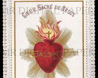 Lace Holy Prayer Card / Sacred Heart / Holy Card / Sacred Heart Jesus / Antique Prayer Card / Digital Instant Download/ Paper Ephemera