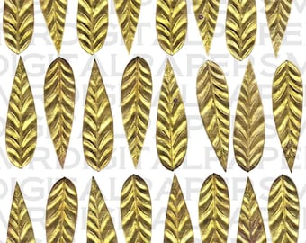 Antique Brass Leaves / Collage Sheet Lot of 28 / 14 x 19 Digital Paper Download / Scrapbooking Supplies / Instant Download / High Resolution