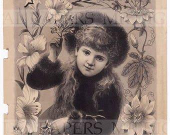 Antique Advertising / Advertising Page / Digital Instant Download / Paper Ephemera / Girl Flowers / Victorian Magazine / Womens Magazine