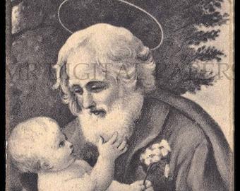 Holy Prayer Card / Joseph Holy Card / Joseph and Jesus / Antique Prayer Card / 3 sizes/ Digital Paper Instant Download/ Vintage Ephemera
