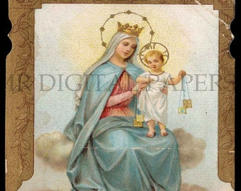 Mary Holy Prayer Card / Virgin Holy Card / Mother and Child / Prayer Card / 3 sizes/ Digital Download/ Holy Card Ephemera / Virgin Mary Card