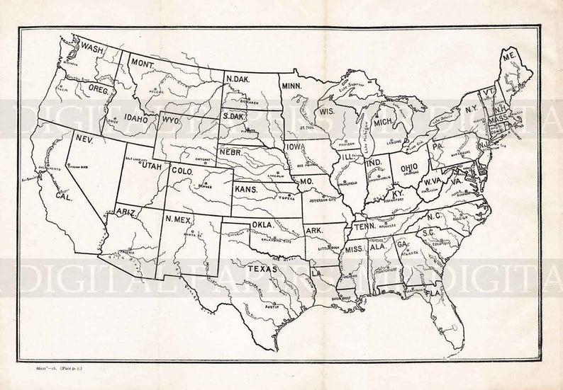 Vintage Map / Antique U.S. Map / U.S. River Map / Map Print / | Etsy