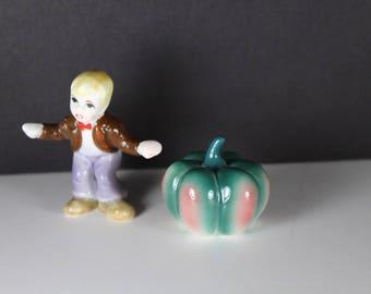 Fairy Garden Miniature Boy Pumpkin Figurines Bone China Japan Terrarium