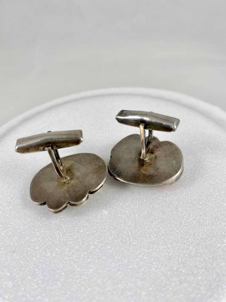 Vintage Authentic Red Coral Stone Silver Cuff Links Native American Hand Made Arizona